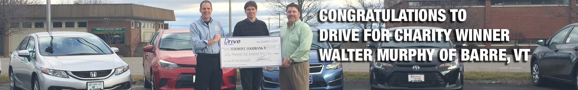 Winner of 802Cars.com Drive for Charity