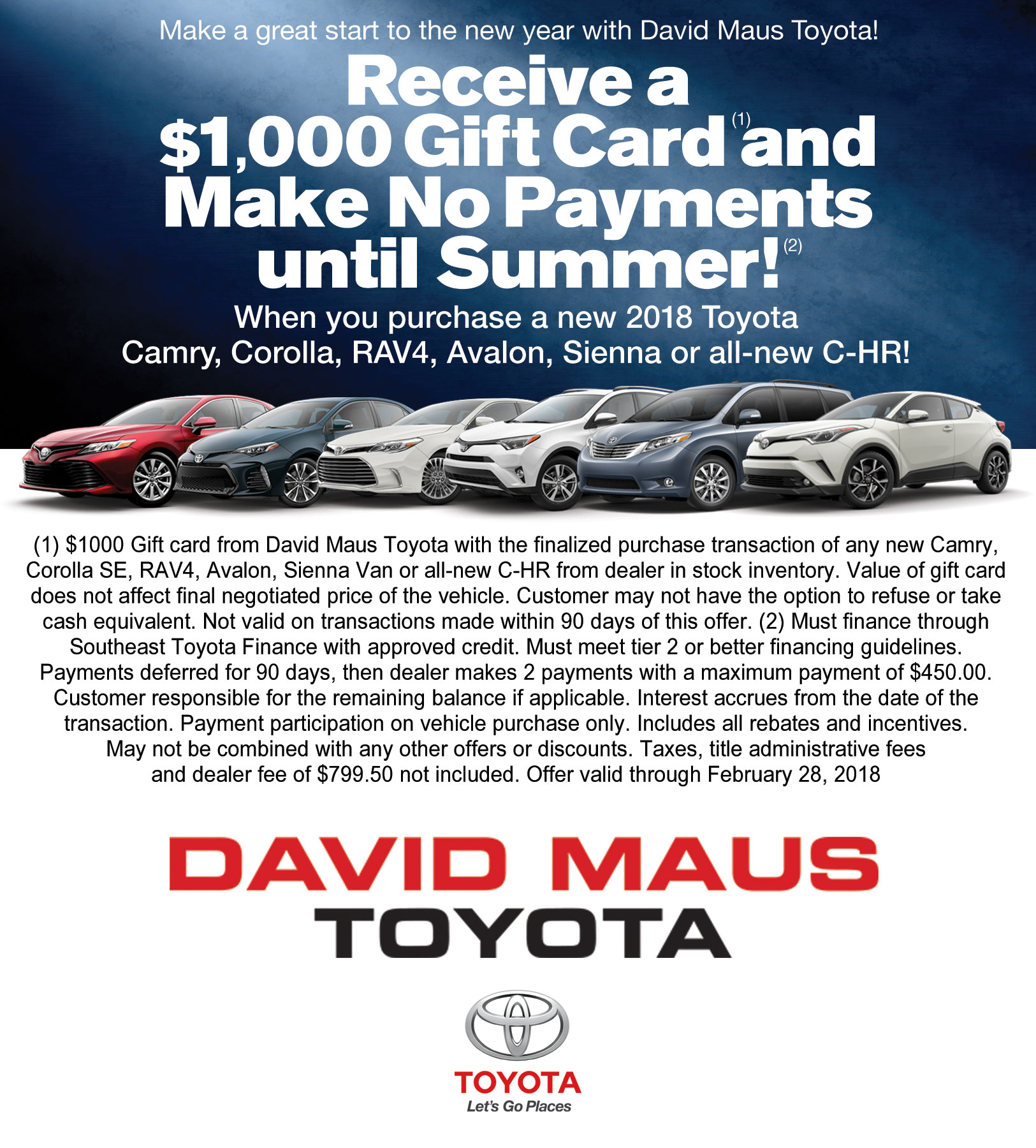 Receive A $1,000 Gift Card And Make No Payments Until Summer!