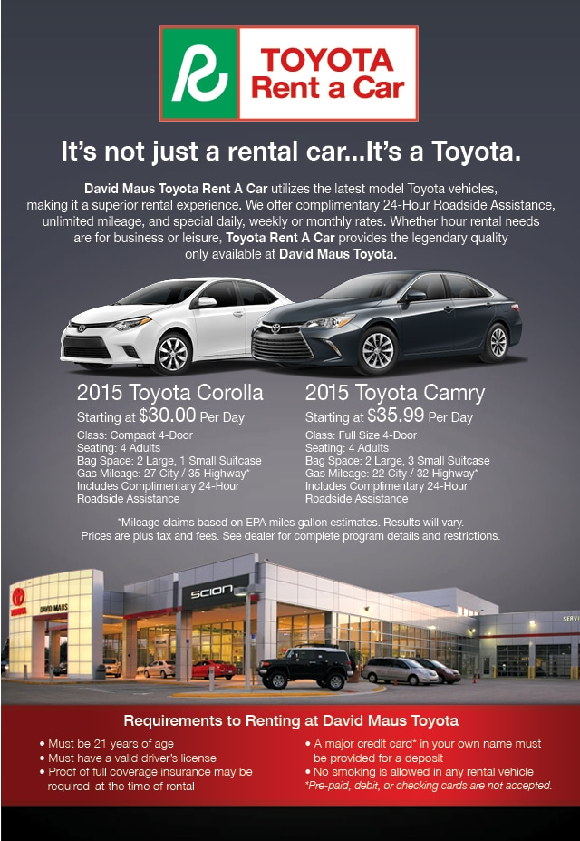 Requirements To Rent A Car >> David Maus Toyota Rental Car Programs Toyota Rent A Car Florida Cars