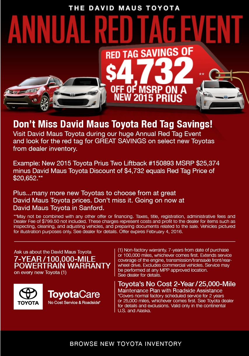 toyota annual red tag event at david maus toyota red tag savings. Black Bedroom Furniture Sets. Home Design Ideas