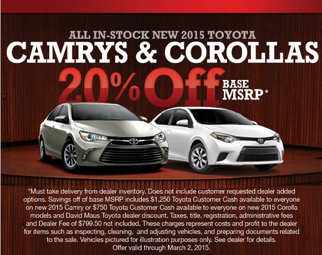 corolla and camry specials at david maus david maus toyota. Black Bedroom Furniture Sets. Home Design Ideas