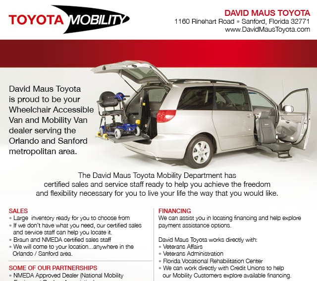Wheel Chair Accessible Toyota Mobility Van from David Maus Toyota, Sansford, Florida