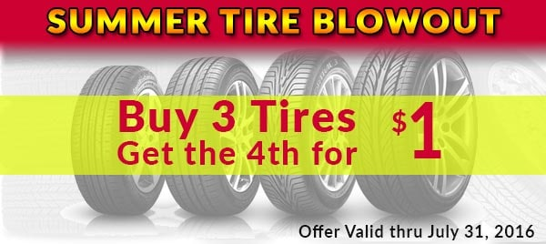 BUY 3 TIRES GET THE FOURTH FOR ONE DOLLAR AT WAGNER KIA OF SHREWSBURY
