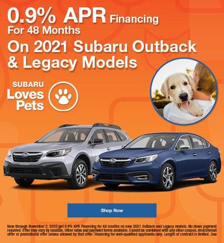 0.9% APR Financing on 2021 Subaru Outback & Legacy Models