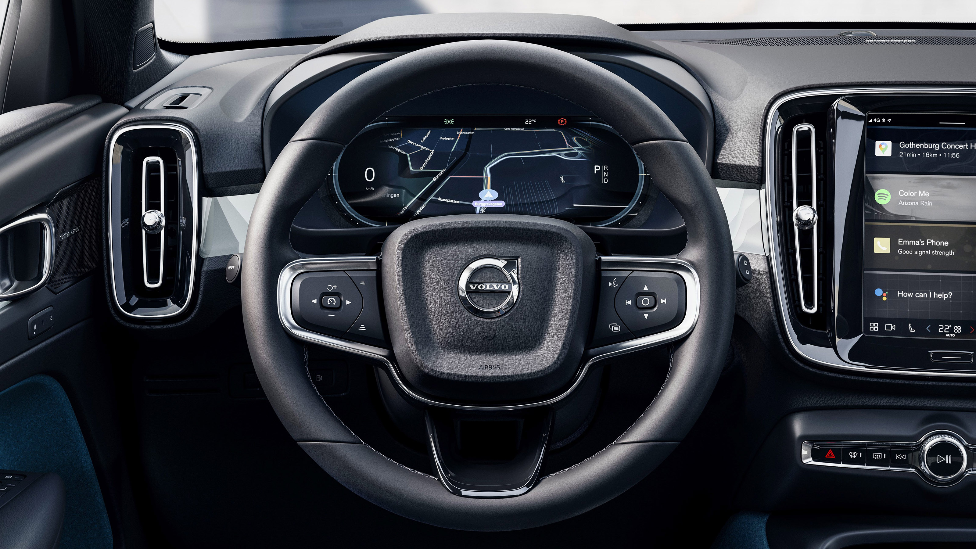 Dashboard view inside the 2022 Volvo C40 Recharge