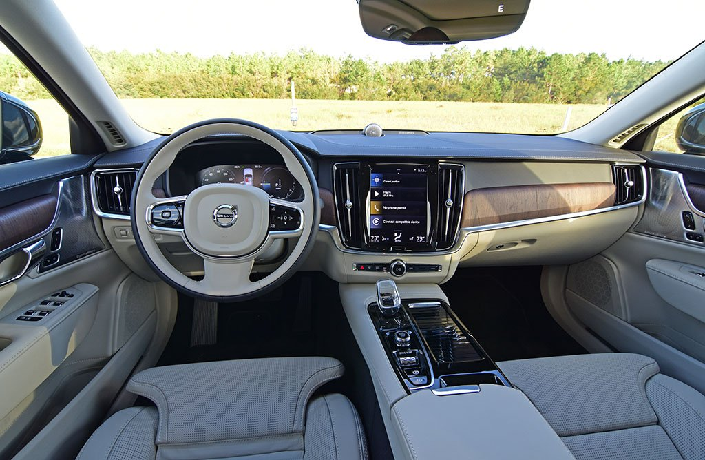 Dashboard view from drivers seat inside the 2022 Volvo XC60