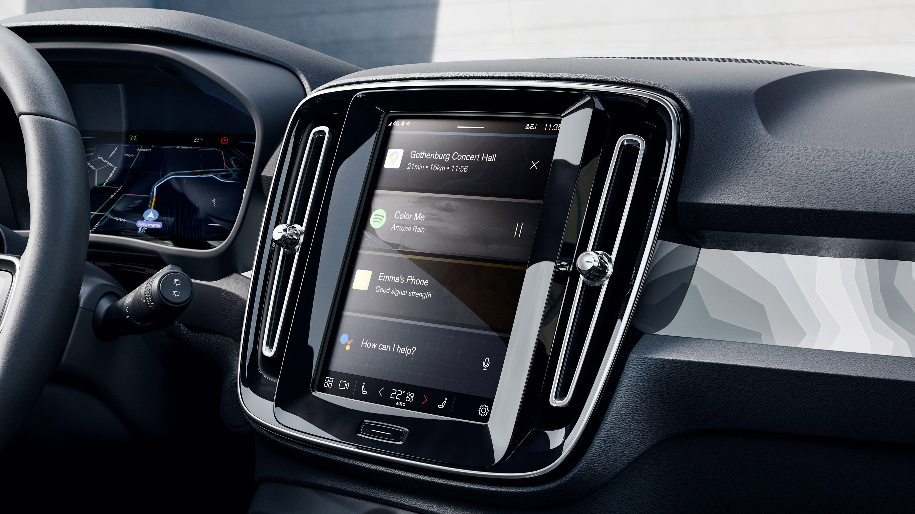 Infotainment System inside the 2022 Volvo C40 Recharge.