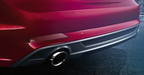 Audi A5 dual exhaust with honeycomb structure