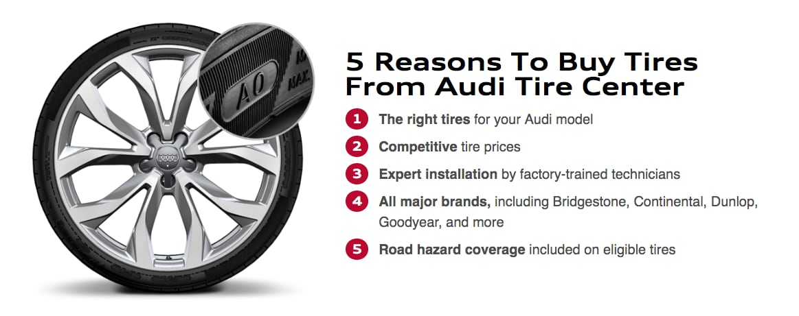 Buy Audi tire replacements in Riverside