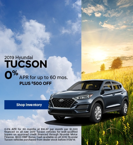 Financing Offer : 0.0% APR for 60 months on select Hyundai Tucson models