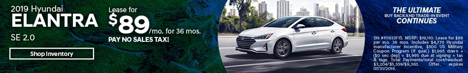 2019 Elantra July Lease Offer