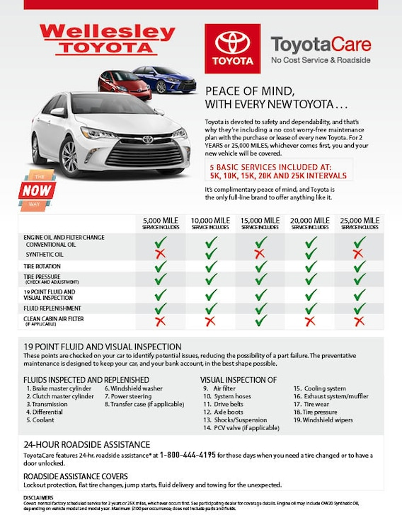 Toyotacare Roadside Assistance Number >> Toyotacare No Cost Scheduled Maintenance For 2 Years