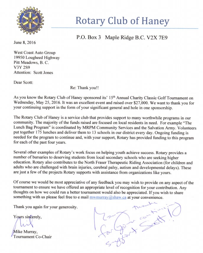 Rotary club of haney thank you letter west coast toyota rotary club of haney thank you letter expocarfo Choice Image