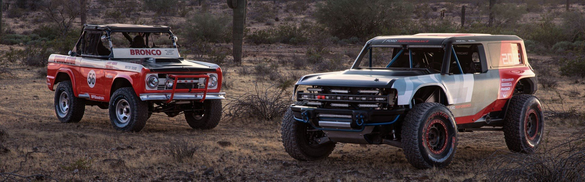 Two 2021 Ford Broncos Parked in the Desert