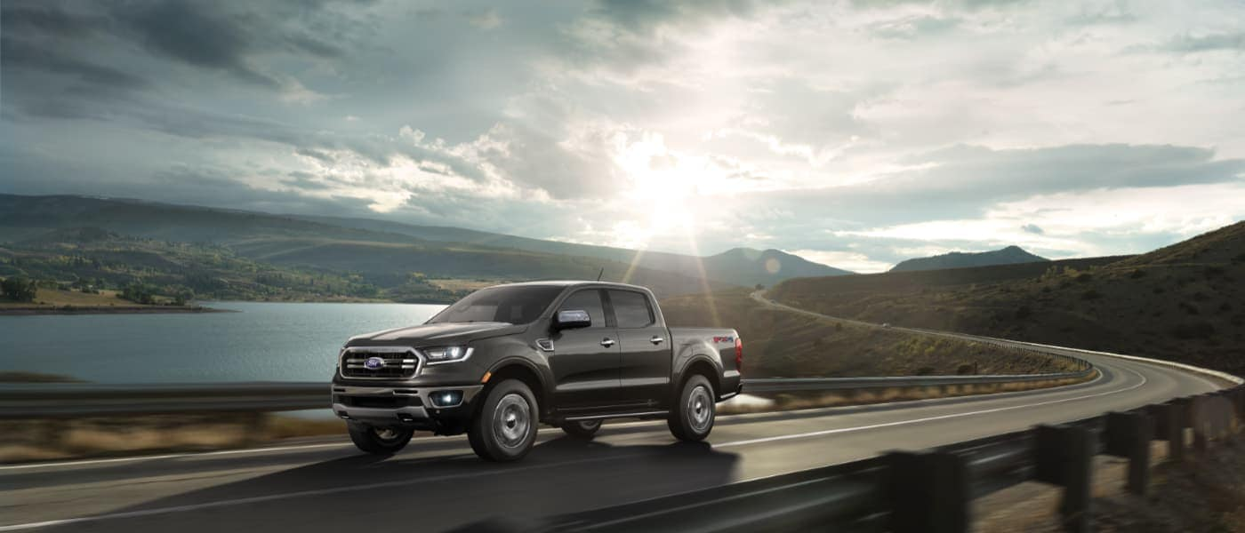 2020 Black Ford Ranger Driving on a Through Mountains