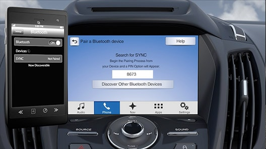A phone connecting to Ford SYNC via bluetooth