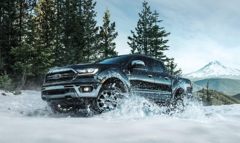 2020 Black Ford Ranger Driving in Snow
