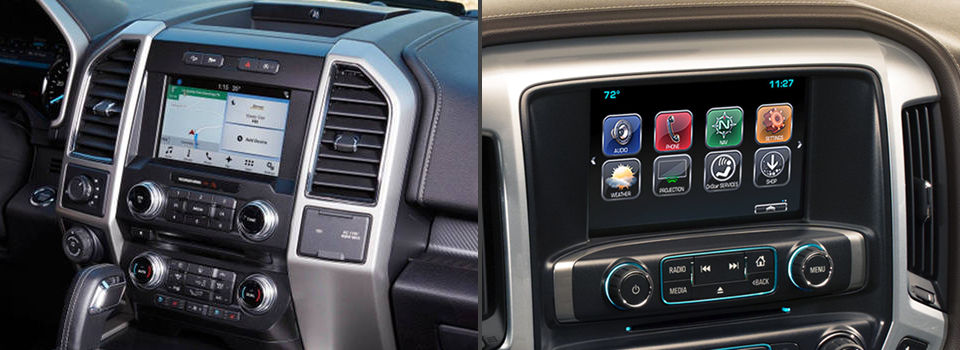 2018 Ford F-150 infotainment system next to a 2018 Chevy Silverado 1500 infotainment system