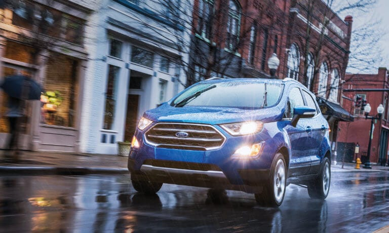 2019 Blue EcoSport Driving in the Rain
