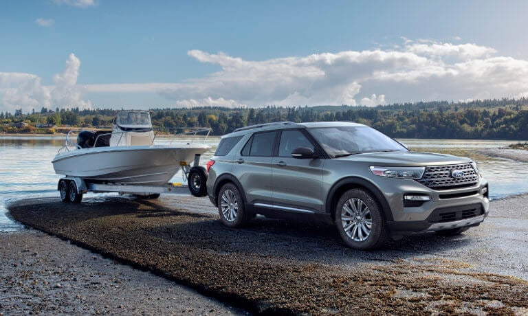 2020 Ford Explorer Towing a Boat out of Water