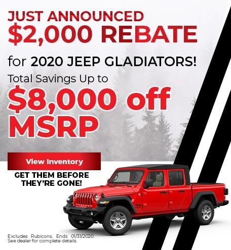 $2,000 Rebate for 2020 Jeep Gladiators!