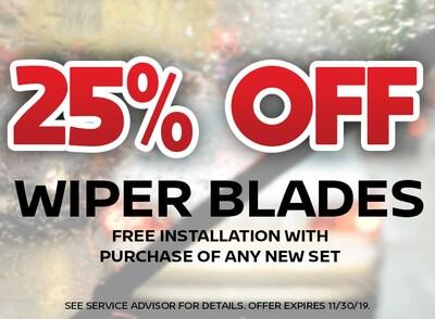 25% Off Wiper Blades
