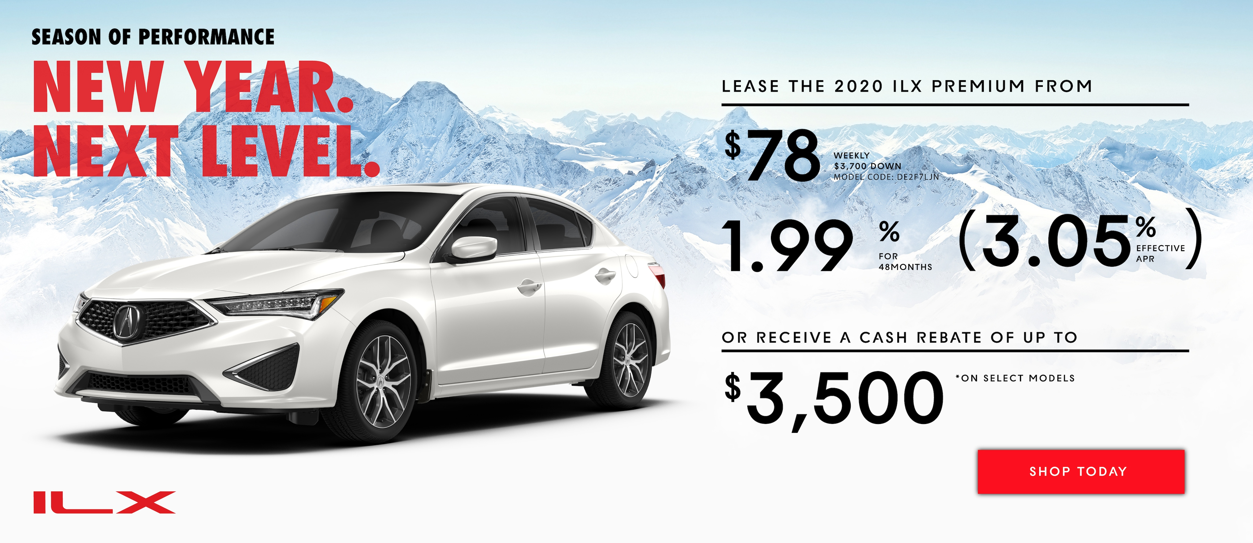 Promotion for leasing the 2020 Acura ILX
