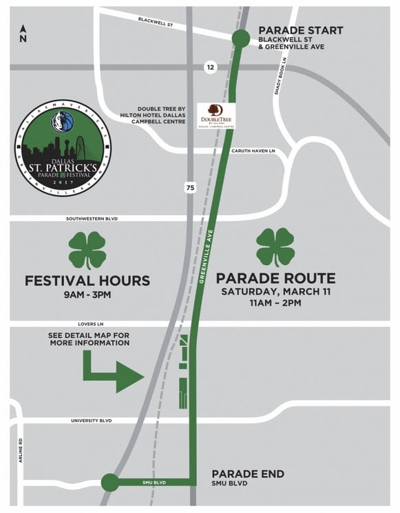 Dallas St. Patrick's Parade Map - Route
