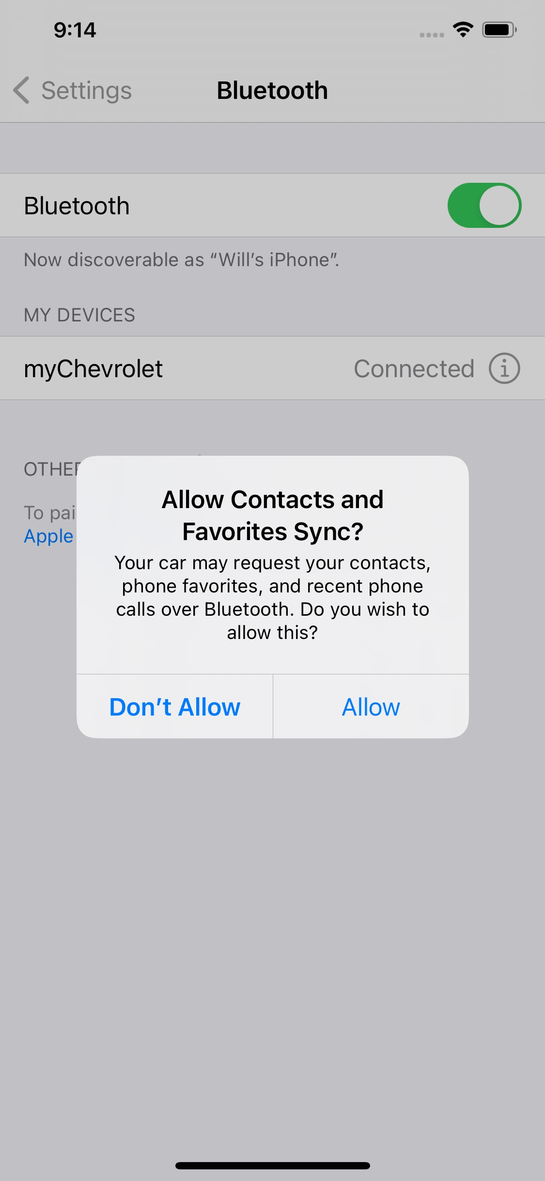 iPhone Bluetooth Contact Sync