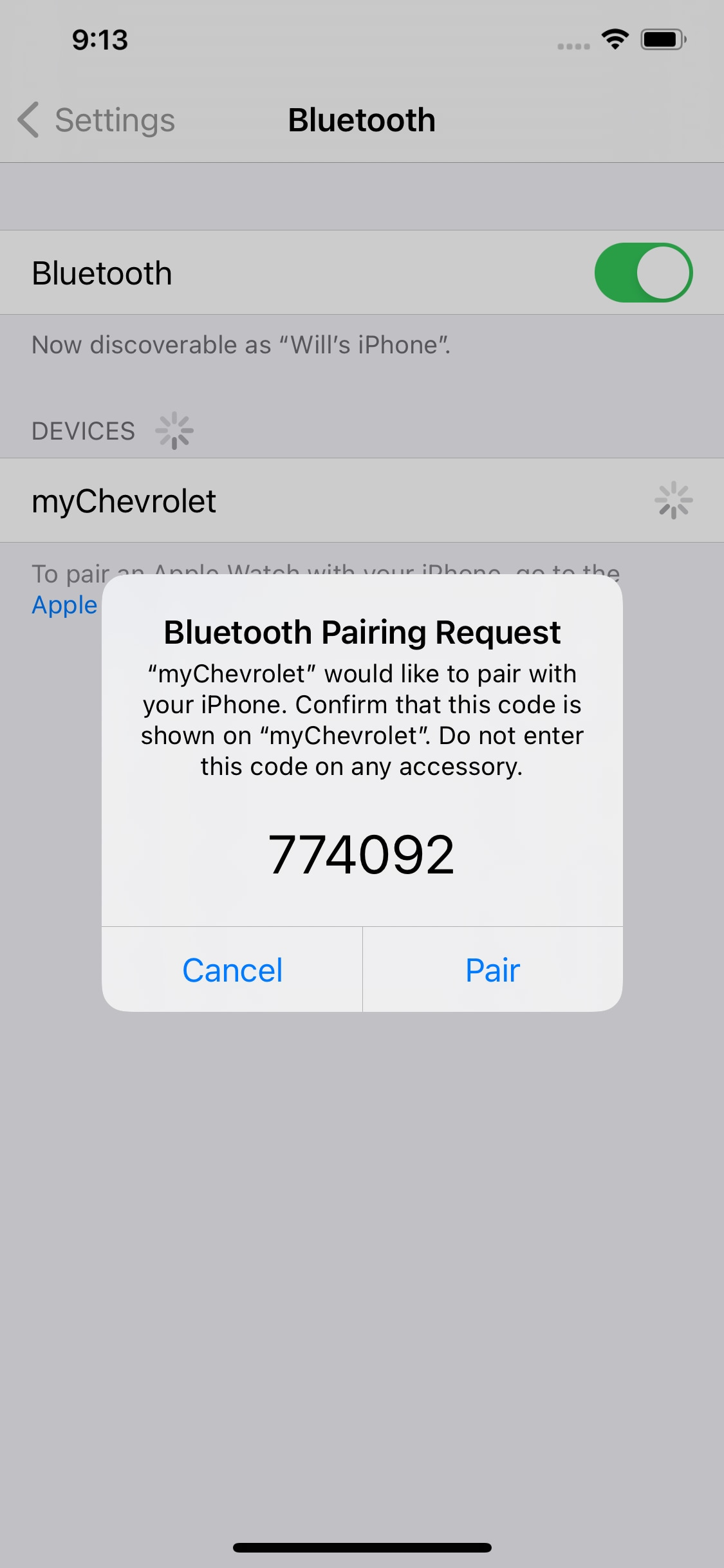 iPhone Bluetooth Connection Verification