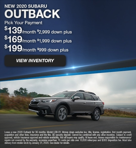 January 2020 Outback Pick Your Payment