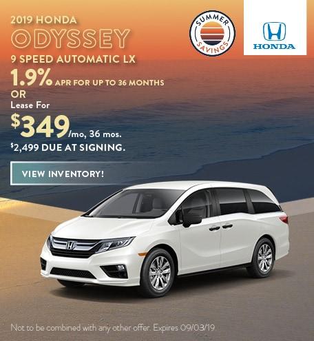 2019 Honda Odyssey - July Offers