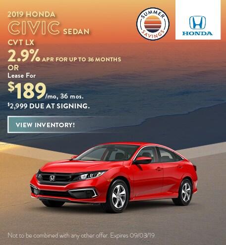 2019 Honda Civic - July Offer