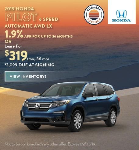 2019 Honda Pilot - July Offers