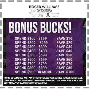 Mopar Bonus Bucks Discount Offer Weatherford TX