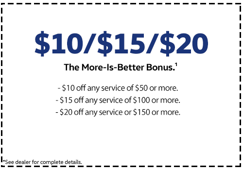 Save $10 $15 $20 off of service for different amounts spent