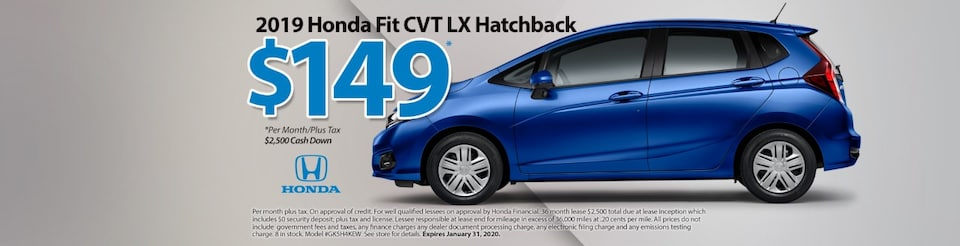 $149/mo Lease for a 2019 Honda Fit CVT LX Hatchback