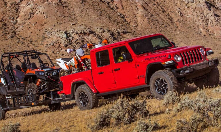 2020 Jeep Gladiator towing bikes and ATV