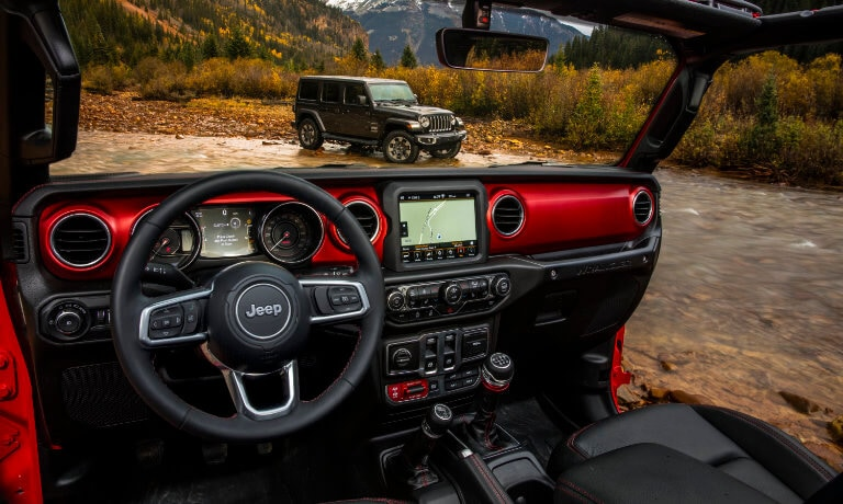 2021 Jeep Wrangler interior front with infotainment