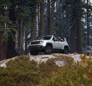 A Jeep Renegade Parked on top of a hill