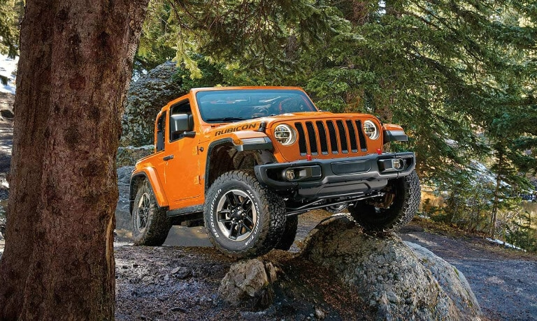 2019 Jeep Wrangler up on rocks