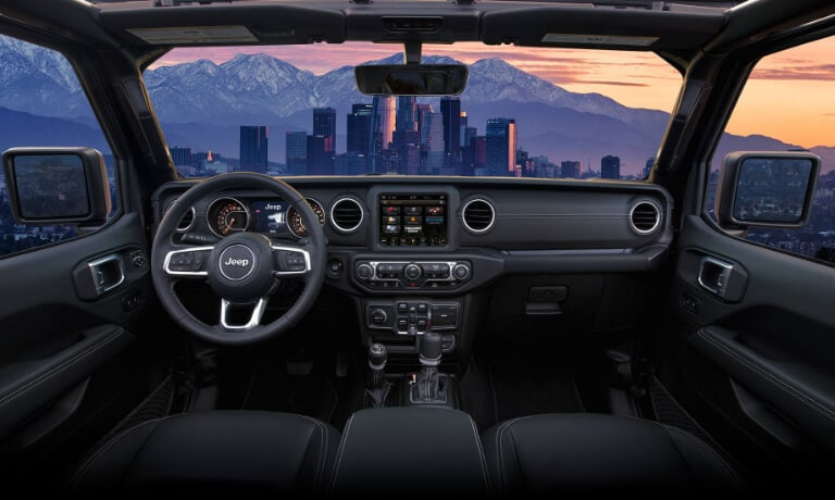 2020 Jeep Gladiator interior looking out at city at night