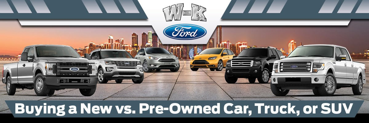 W-K Ford New vs. Pre-Owned Vehicles banner