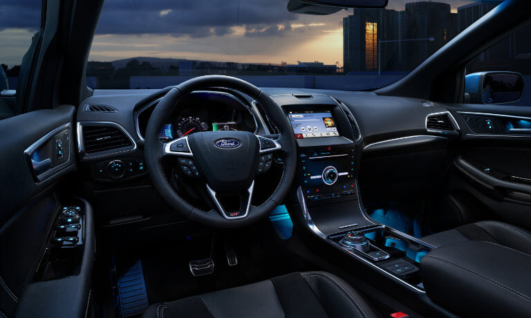 2019 Ford Edge interior front lit up at night