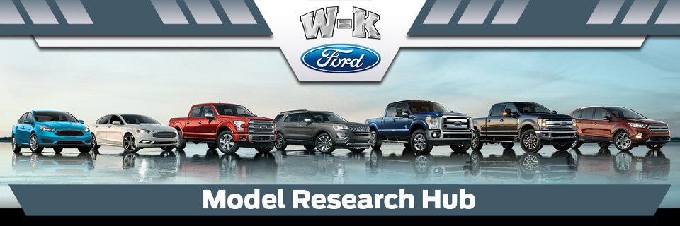 A line up of all the available Ford models at W-K Ford