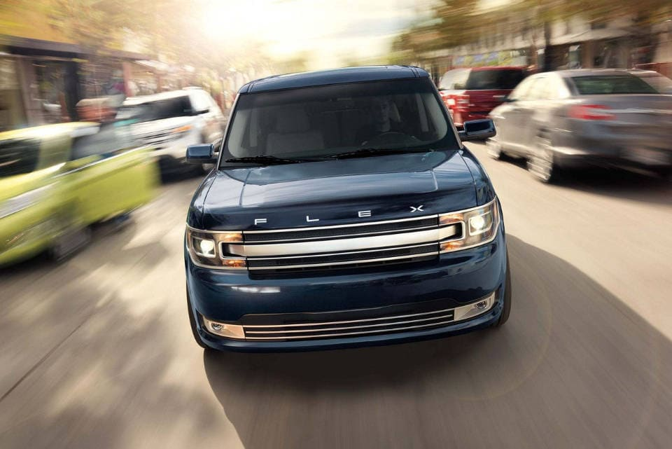 A 2018 Ford Flex coming towards the viewer