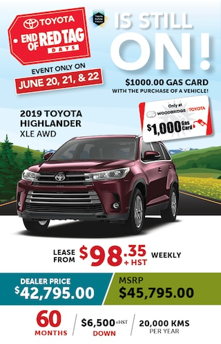 End of Red Tag Days on 2019 Toyota Highlander XLE AWD
