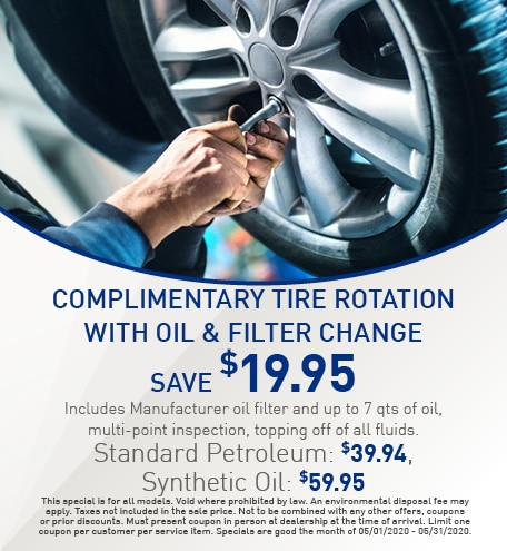 Complimentary Tire Rotation With Oil & Filter Change