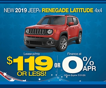 2019 Renegade Special 119 M World Jeep Lease Loan Deals