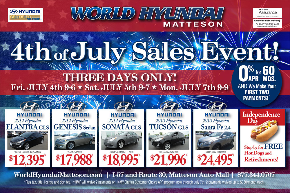 Matteson Auto Mall >> Hyundai Independence Day 4th of July Sale in Chicago ...